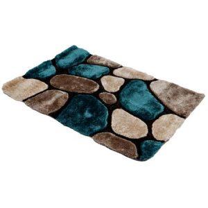 Covor 3D Kring Shaggy, 120x180 cm, 2200 gsm, model pietre, Bej/Albastru