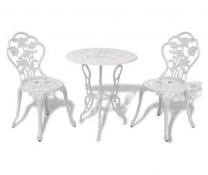 Set mobilier bistro, 3 piese, alb, aluminiu turnat